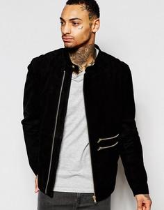 Замшевая байкерская куртка черного цвета ASOS - Черный