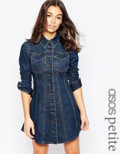 Джинсовое платье-рубашка в стиле вестерн ASOS PETITE - Синий выбеленный