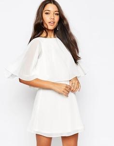 Короткое приталенное платье мини с кейпом ASOS - Белый
