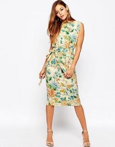 Платье миди с ремнем и цветочным принтом ASOS - Мульти