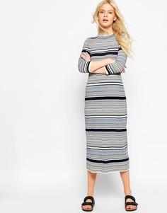 Вязаное платье миди в полоску ASOS - Синий