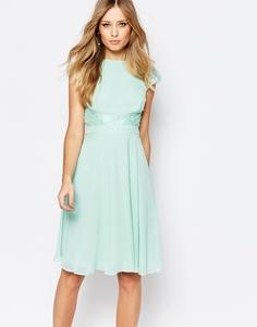 Короткое приталенное платье с кружевными вставками Elise Ryan - Мятный