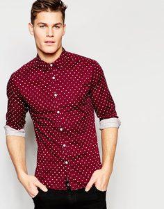 Бордовая зауженная рубашка в горошек с длинными рукавами ASOS - Burgundy