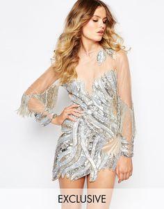 Декорированное платье мини с сетчатой вставкой и расшитыми бисером рукавами в стиле кейп A Star Is Born Luxe