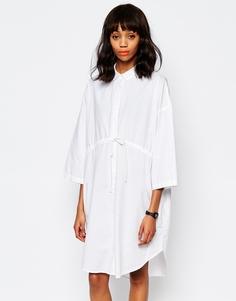 Платье-рубашка с завязкой на талии Monki - Белый