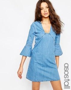 Джинсовое цельнокройное платье мини с рукавами‑рюш ASOS TALL - Средний эффект потертости