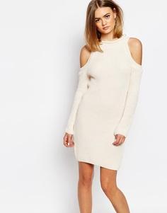 Платье в рубчик с халтером и открытыми плечами Daisy Street - Кремовый