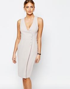 Приталенное платье на пуговицах Love - Светло-серый