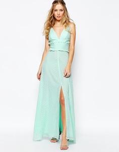 Платье макси с оборкой и разрезом по центру Jarlo - Зеленая мята