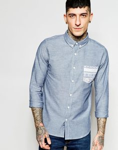 Джинсовая рубашка с контрастным карманом Another Influence - Синий