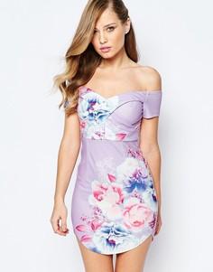 Облегающее платье с цветочным принтом и закругленной кромкой Ginger Fizz - Многоцветный цветочный