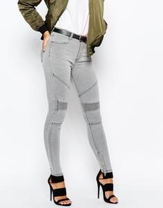 Байкерские джинсы с завышенной талией Missguided - Серый