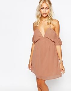 Платье-сорочка с открытыми плечами Fashion Union - Розовый