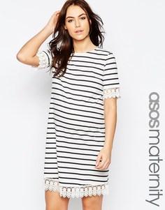 Платье для беременных в полоску с кружевной отделкой ASOS Maternity - Экрю