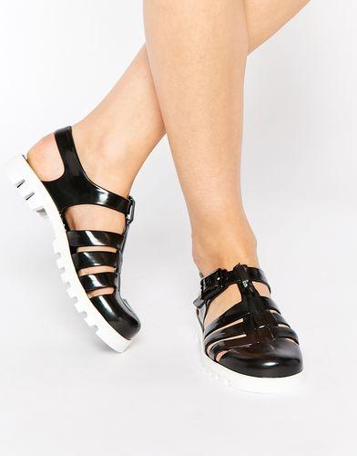 Желейные сандалии JuJu Maxi - Черно-белый