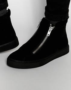 Черные ботинки на толстой подошве с верхом из искусственной замши и молниями ASOS - Черный