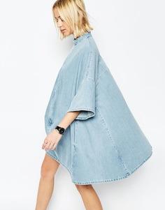 Джинсовое платье-пончо ASOS WHITE - Синий