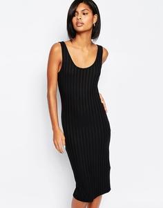 Трикотажное платье миди в рубчик Vero Moda - Черный