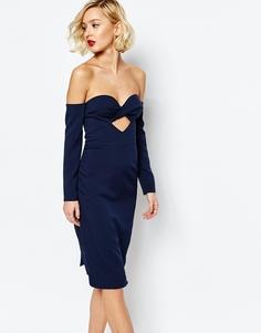 Платье миди с лифом-бандо и вырезами Lavish Alice - Темно-синий