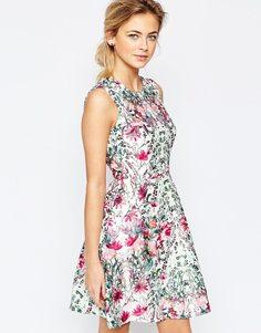 Платье с пышной юбкой и цветочным узором Ted Baker - Кремовый