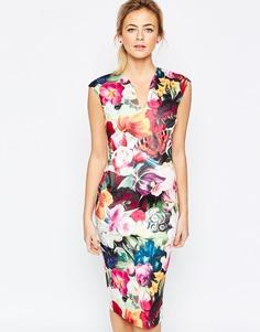 Платье с цветочным принтом Ted Baker - Фуксия