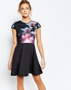 Короткое приталенное платье с принтом Ted Baker - Мульти
