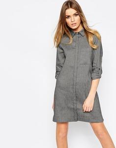 Платье-рубашка из натурального волокна ASOS - Серый