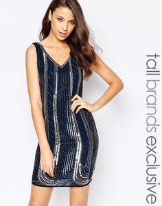 Цельнокройное платье с отделкой Maya Tall - Темно-синий