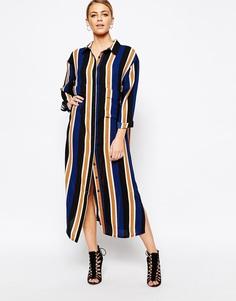 Платье-рубашка миди с принтом в полоску Boohoo - Мульти
