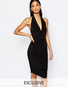 Платье миди с запахом спереди и T‑образной отделкой Club L - Черный