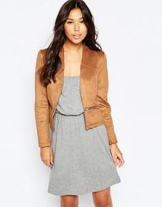 Куртка под замшу с декоративными молниями Vero Moda - Коньячный
