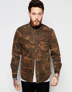 Камуфляжная рубашка в стиле милитари с длинными рукавами и двумя карманами ASOS - Хаки