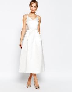 Сатиновое платье миди для выпускного Jarlo - Белый