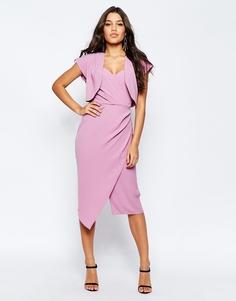 Мягкое платье-футляр бандо с укороченным пиджаком ASOS - Розовый