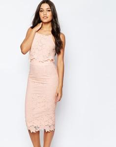 Платье миди с цветочным кружевом ASOS - Телесный