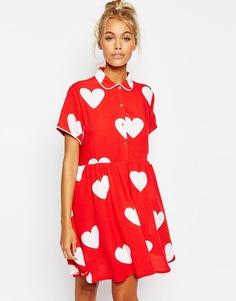 Платье-рубашка на пуговицах с сердцами Lazy Oaf - Красный