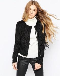 Куртка из искусственной замши с бахромой Vero Moda - Черный