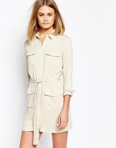 Платье-рубашка с поясом и карманами в стиле милитари Daisy Street - Кремовый