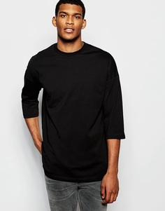 Черная oversize-футболка с рукавами 3/4 ASOS - Черный