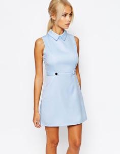 Цельнокройное платье‑трапеция с воротником Fashion Union - Бледно-синий