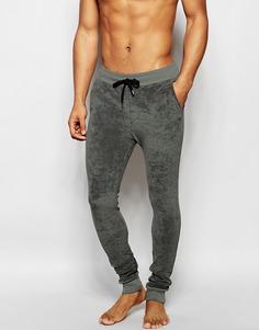 Суперзауженные махровые спортивные штаны цвета хаки ASOS Loungewear - Хаки
