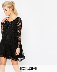Кружевное свободное платье Navy London - Черный