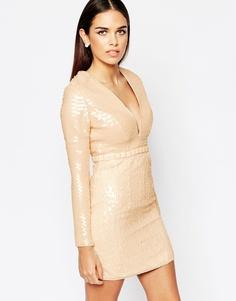 Платье с пайетками Rare Opulence - Телесный