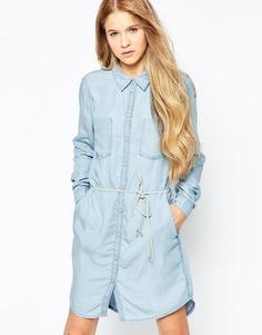 Джинсовое платье с поясом Only - Светло-голубой