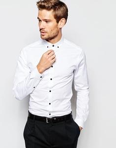 Зауженная рубашка с воротником на пуговицах и контрастными пуговицами ASOS - Белый