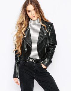Укороченная кожаная байкерская куртка Barney's Originals - Черный