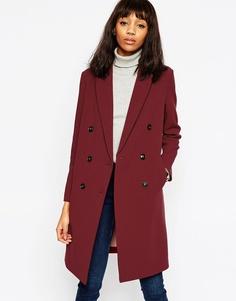 Двубортное пальто ASOS - Красно-бурый