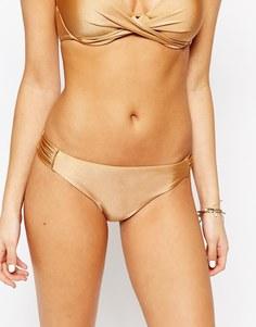Присборенные по бокам плавки бикини цвета металлик Vero Moda - Золотой