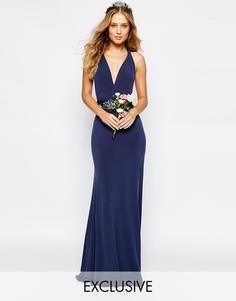 Длинное платье-трансформер с шлейфом TFNC WEDDING - Темно-синий