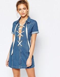 Джинсовое платье со шнуровкой Boohoo - Синий